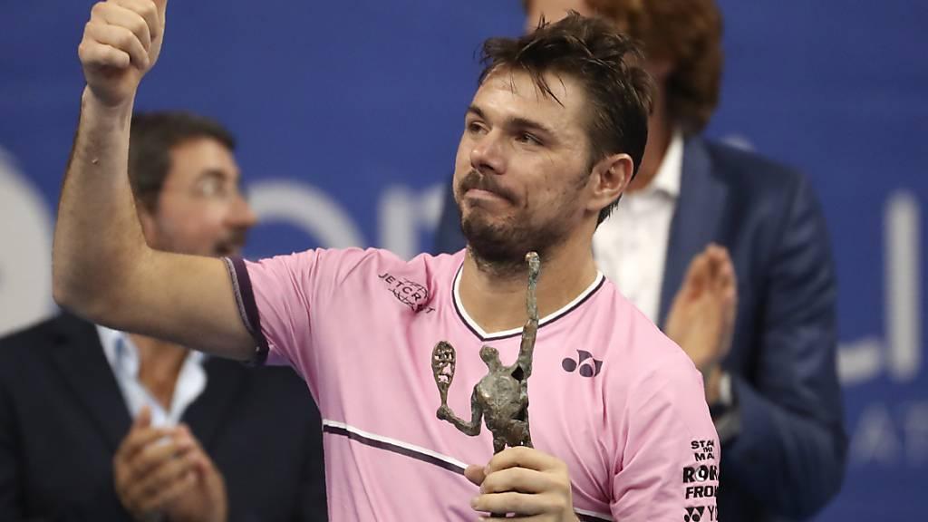 Daumen hoch: Obwohl er den Final beim ATP-Turnier in Antwerpen gegen Andy Murray auf ärgerliche Weise verlor, zeigt sich Stan Wawrinka mit seiner Form vor dem ersten Auftritt bei den Swiss Indoors zufrieden