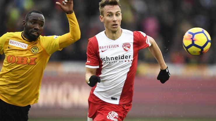 Bürgy im Trikot des FC Thun (rechts) gegen seinen Stamm- und Herzensklub YB