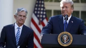 """Präsident Donald Trump will dem Fed-Chef Jerome Powell (links) zwei """"Tauben"""" zur Seite stellen. (Archivbild)"""