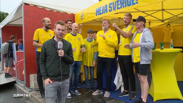 WM-Achtelfinale: Schweden-Fans in Überzahl