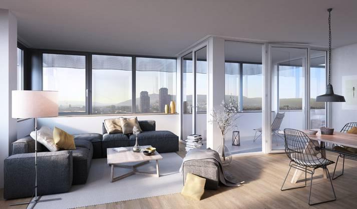 So sollen die Wohnungen im Toni-Areal später aussehen. (Visualisierung)