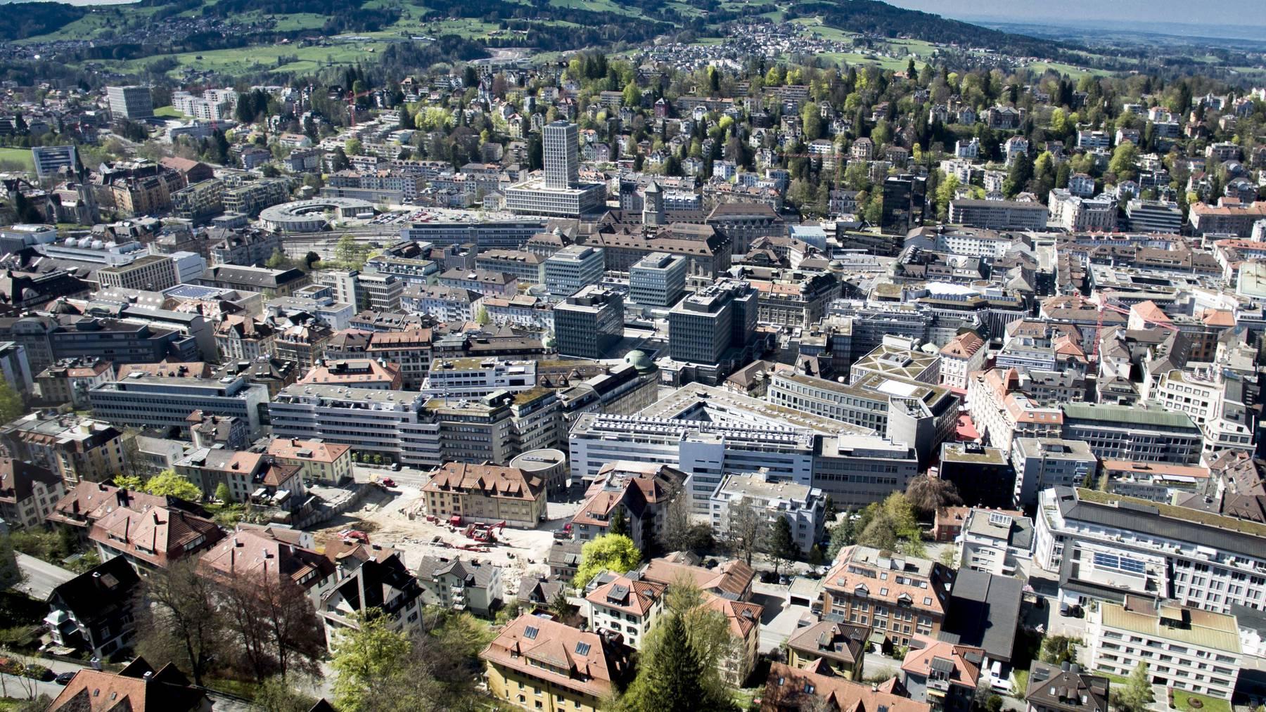 Das St.Galler Stadtzentrum aus der Drohnenperspektive.