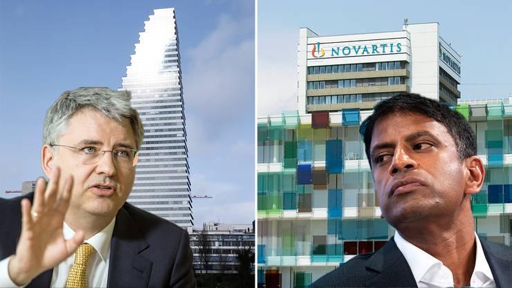 Roche-Chef Severin Schwan (links) ist seit elf Jahren im Amt. Vas Narasimhan (rechts) ist seit etwas mehr als einem Jahr Novartis-Chef.