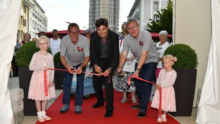 Heinz Westreicher, GVG-Präsident, Stadtpräsoident François Scheidegger und OK-Präsident Theo Heiri-Schatt.
