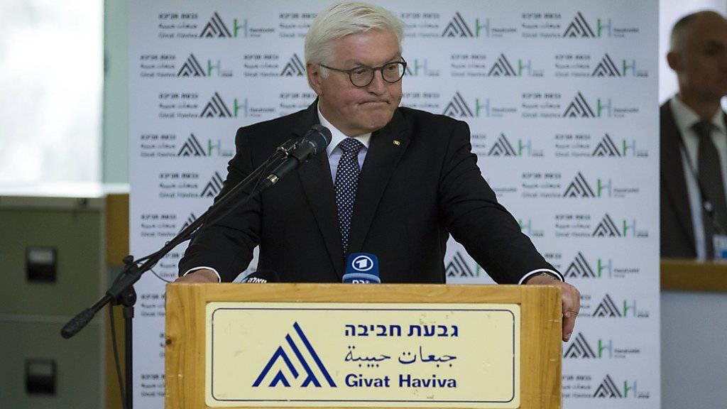Bei seinem Besuch der jüdisch-arabischen Begegnungsstätte Givat Haviva  zwischen Tel Aviv und Haifa hat der deutsche Bundespräsident Frank-Walter Steinmeier am Montag die Politik kritisiert, dass sie nicht in der Lage ist, in diesem Dauerkonflikt endlich eine Lösung zu finden.