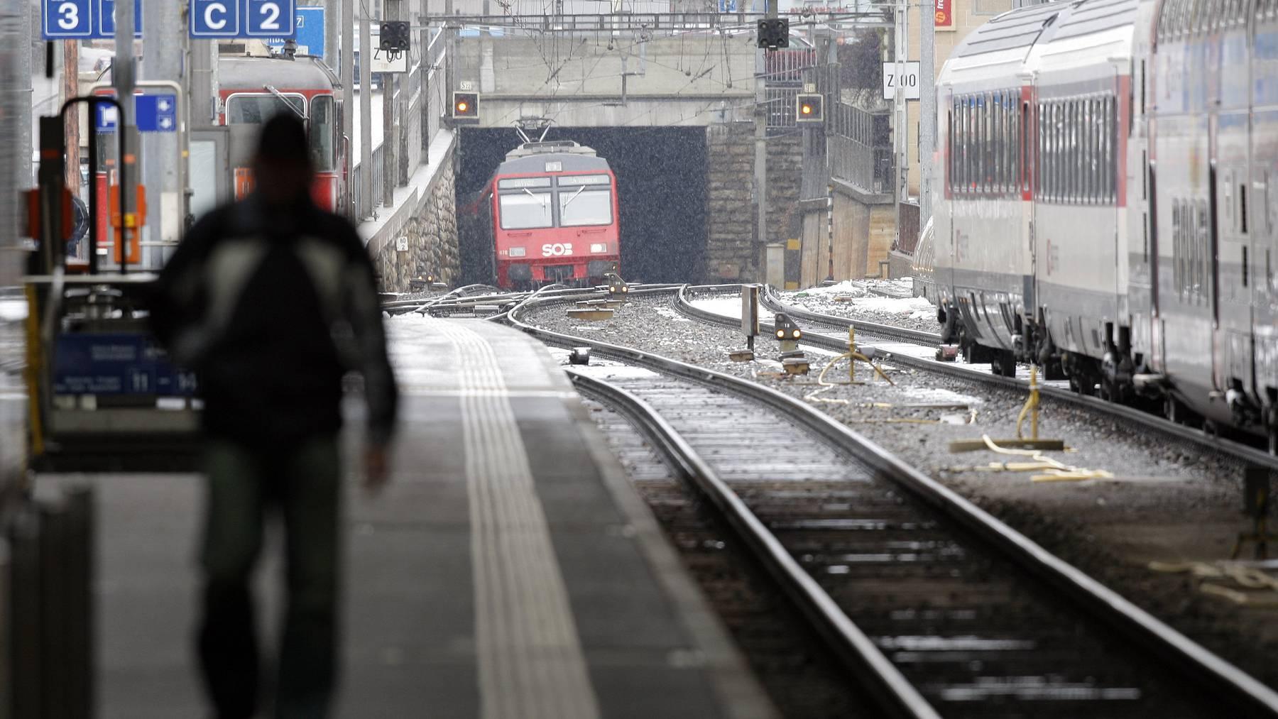 Der Rosenberg-Eisenbahntunnel vom Bahnhof St.Gallen aus gesehen.