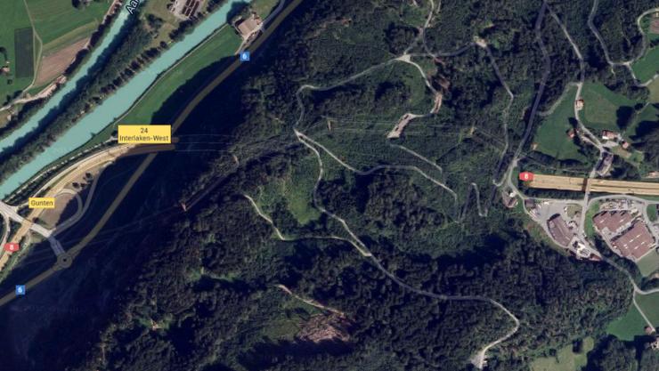 Der Rugentunnel bei Interlaken.