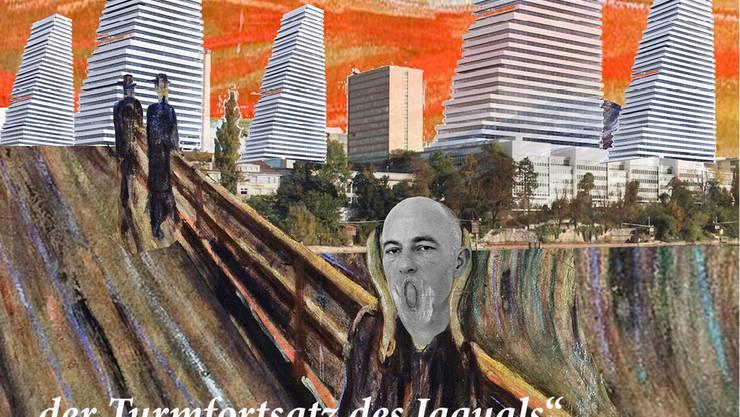 """Eine Photoshopkollage aus dem ersten Gemälde """"der Schrei"""" von Edvard Munch (Norwegen), des Rocheturms """"Bau 1"""" und der halben Larve von Jaques Herzog (HerzogdeMeuron)"""