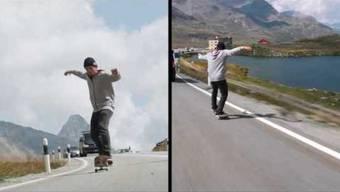 4:08 Minuten ist Simon Stricker mit seinem Skateboard auf dem Berninapass unterwegs. Mit durchschnittlich über 30 km/h fährt der Schweizer den Alpenpass runter und kommt ganze 2,1 Kilometer weit. Das spezielle daran? Stricker meistert die komplette Strecke im sogenannten «Manual», nur auf den Hinterrädern, also auf einer Achse balancierend.