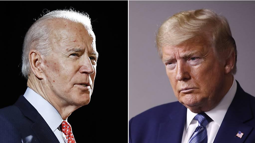 Joe Biden und US-Präsident Donald Trump. Foto: ROURKE/SEMANSKY/AP/dpa