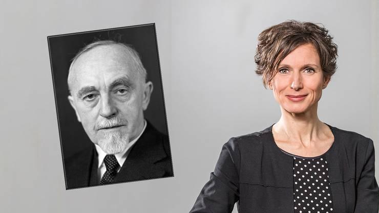 Die erste SP-Ständerätin: Pascale Bruderer, Einwohnerrätin in Baden, Gross- und Nationalrätin, wurde 2011 in den Ständerat gewählt. Im kleinen Bild: Der erste SP-Ständerat, Karl Killer (SP), Stadtammann von Baden, Gross- und Nationalrat, schaffte es 1943 gegen FDP-Kandidat Emil Keller.