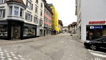 Vordere Vorstadt – kritisch ist die vierte Bauphase, während welcher der Abschnitt im Vordergrund gesperrt wird.Ueli Wild