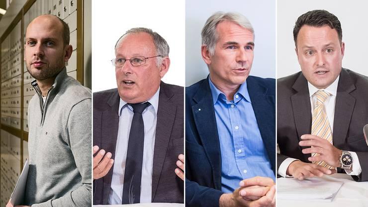 Die Fronten in der Basler SVP sind verhärtet: Joël Thüring, Eduard Rutschmann, Lorenz Nägelin, Sebastian Frehner (vlnr.)