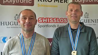 Nicht nur aargauisch, sondern auch schweizerisch an der Spitze: Die Pistolenschützen Patrik Hunn (links) und Dieter Grossen.