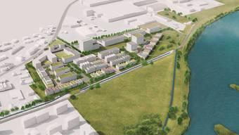 Statt Kieswerk und Industriehallen neu Wohnungen und Gewerbe: So könnte es dereinst aussehen auf dem Gebiet Grossacher in Kleindöttingen.