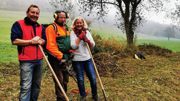 Hans Münger, Ruedi Michel und Elisabeth Koch, eine fröhliche Gruppe!