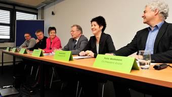 Für ein Ja zum Finanzausgleich (v.l.): Markus Dietschi ( BDP), Christian Scheuermeyer (FDP), Fränzi Burkhalter-Rohner (SP), Kuno Tschumi (VSEG-Präsident), Sandra Kolly (CVP), Felix Wettstein (Grüne).