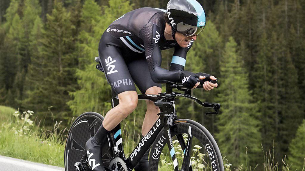 Geraint Thomas - hier im Zeitfahren im Einsatz - ist der neue Leader im Dauphiné