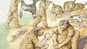 Schon in der Urzeit könnten Frauen und Männer gemeinsam Tiere erlegt haben.
