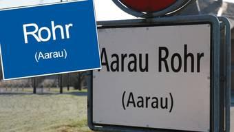 So würde das neue Ortseingangsschild des Stadtteils Rohr aussehen (blaues Schild).
