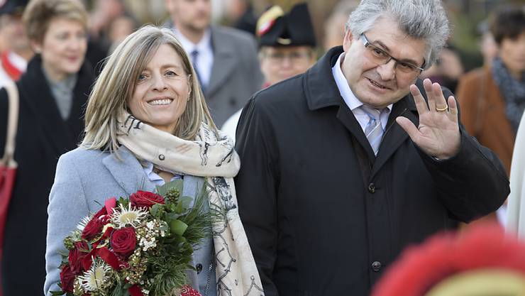Ständeratspräsident Ivo Bischofberger wird mit seiner Frau Margrith in Appenzell offiziell empfangen.