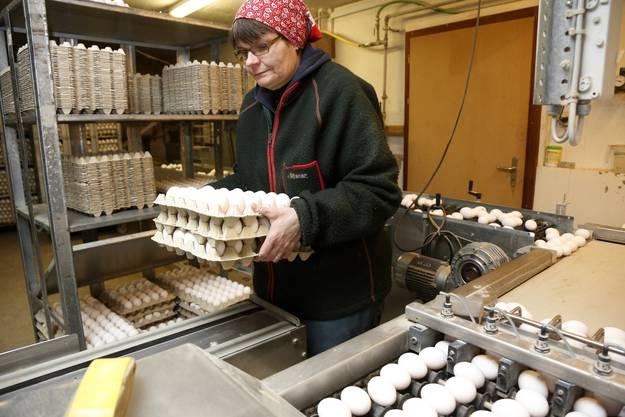 Margrit Murer stapelt die gefüllten Eierkartons auf die Ablage