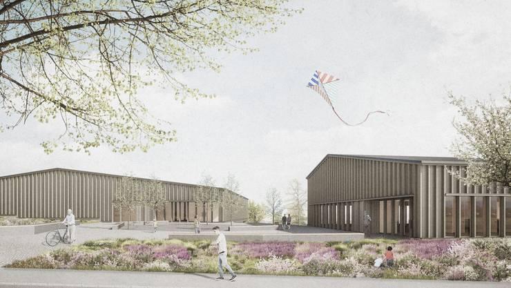 Doppelturnhalle und Mehrzweckgebäude: Die Aufteilung in zwei Baukörper ermöglicht eine «harmonische Erweiterung» der Aescher Schulanlage