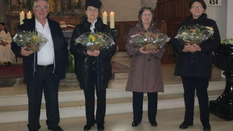 v.li. Marcel Brumann, Rosa Eichholzer, Adelheid Zender, Anni Hagenbuch