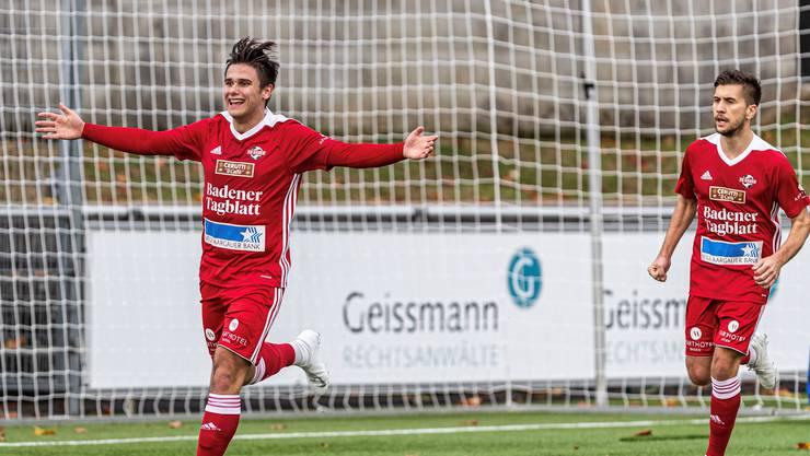Gleich zweimal darf Baden jubeln. Yves Weilenmann und Dejan Jakovljevic erzielen im Spitzenkampf gegen Solothurn jeweils ein Tor und sorgen so für den 2:0-Sieg.