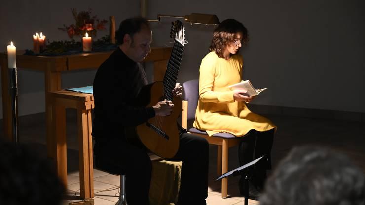 Musikalische Lesung von Texten der Ordensfrau und Autorin Silja Walter in der St. Joseph-Kapelle Grenchen. Lesung Amira Hafner-Al Jabaji, Gitarre Miguel Guldimann