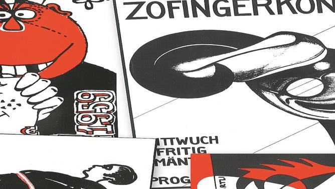 Im Bild oben links ist das erste Zofingerconzärtli-Plakat aus den 30er-Jahren. Auch in den anderen Bildern spiegeln sich Themen und Stile der Zeit. Und: Bereits 1928 waren Casino und Mustermesse Fasnachtssujets.