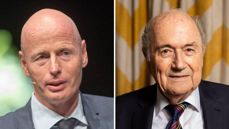 Ringier-CEO Marc Walder (links) schrieb Sepp Blatter (rechts) einen Brief. Seine Sportredaktion kam darin nicht gut weg. (Bilder: /KeystoneSeverin Bigler)
