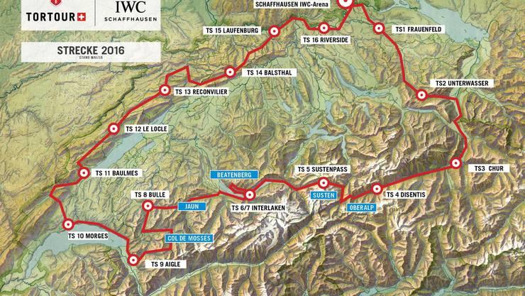 Die Tortour startet in der IWC-Arena in Schaffhausen. Auf der insgesamt 1000 Kilometer langen Strecke gibts nach knapp 50 Kilometern einen Kontrollposten.