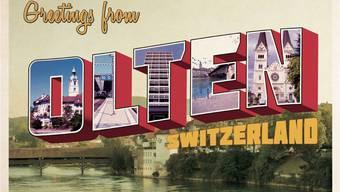 Flyer im Retro-Stil zur Vernissage des Buchs «Olten». zvg