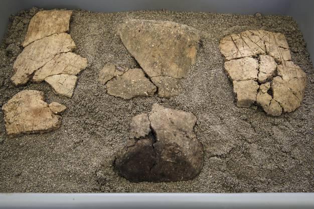 Ritzenverziertes Keramik von der Grabungsstelle