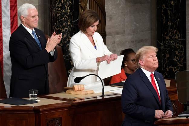 Präsident Donald Trump, Vize-Präsident Mike Pence und Sprecherin Nancy Pelosi. Archivbild.