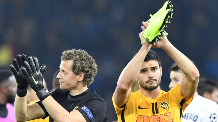 Wölfli und Benito nach dem Spiel gegen Valencia. Wirklich zufrieden sieht anders aus.