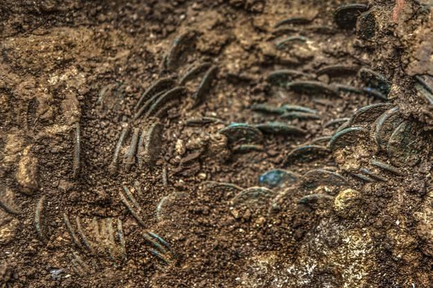 Mindestens ein Teil der Münzen wurde offenbar in Säcken aus Stoff oder Leder in der Erde vergraben.