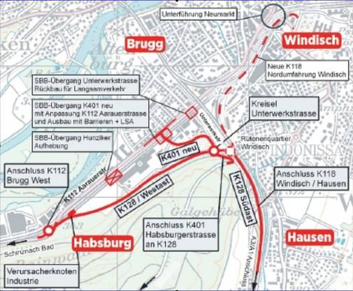 Mit der Umfahrung (rote Linien) werden Brugg und Windisch entlastet.