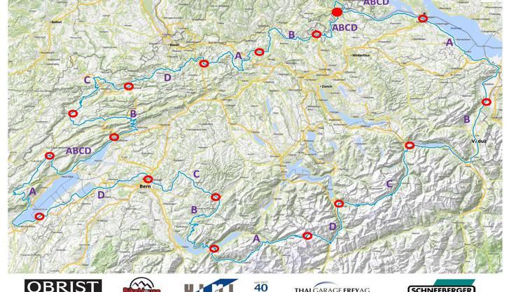 - 17 Etappen - 1'053 Kilometer - 13'000 Höhenmeter