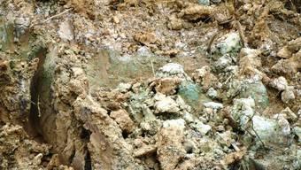 Reste von Chemiemüll in der Deponie Le Letten