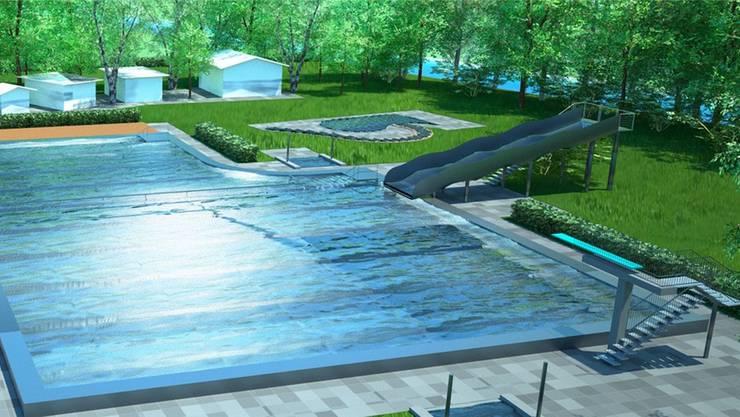 So wie auf der Visualisierung soll sich die Breitwellenrutschbahn im sanierten Schwimmbad Schinznach präsentieren. zvg