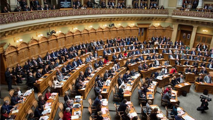 Blick in den Nationalratssaal bei der Bundesratswahl im vergangenen Dezember: Derzeit sitzen 66 Frauen und 134 Männer in der grossen Kammer. Im Ständerat, der kleinen Kammer, sind es 7 Frauen und 39 Männer.Lukas Lehmann/Keystone