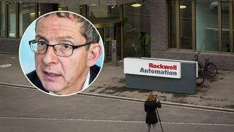 Eingang zum Rockwell-Sitz in Aarau, der von den Abbaumassnahmenbetroffen ist. Urs Hofmann erfuhr am Montag vom Verlust der Arbeitsplätze.