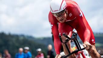 Stefan Küng während des ersten Zeitfahrens im Rahmen der Tour de Suisse in Langnau.