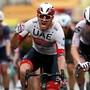 Der Norweger Alexander Kristoff jubelt zum Tour-Auftakt in Nizza über seinen Sprintsieg, der ihm zugleich das gelbe Leadertrikot einbringt