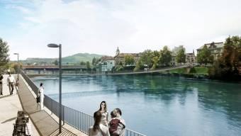 So soll der Aaresteg, eine stützenfreie Spannbetonbrücke, dereinst aussehen. zvg