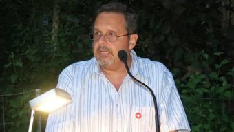 Der Dietiker SVP-Kantonsrat Rochus Burtscher an der 1.-August-Rede in Oetwil