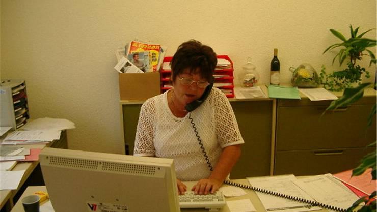 Silvia Hoppler vor zwanzig Jahren im Büro.