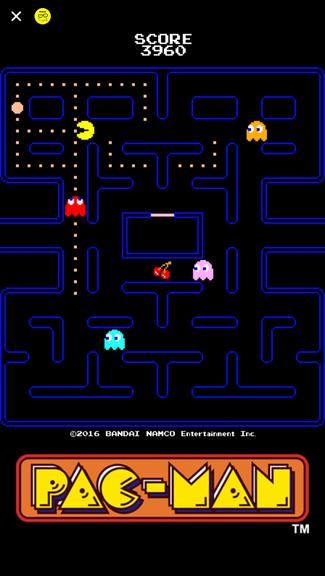 Auch Pacman ist auf dem Handy zurück. Durch Swipen bewegt man das gelbe Kügelchen. (Bild: Screenshot Facebook Messenger)